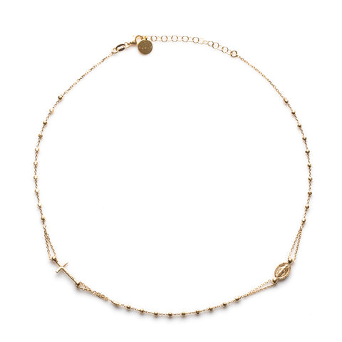 ROSARY NECKLACE - GOLD & BLACK