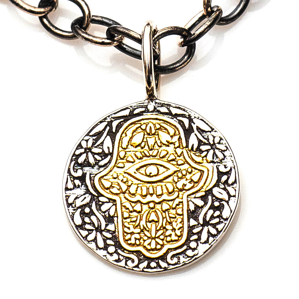 VINTAGE HAMSA / EYE NECKLACE
