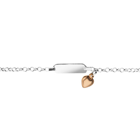 BABY ID BRACELET STERLING SILVER AND ROSE GOLD HEART CHARM