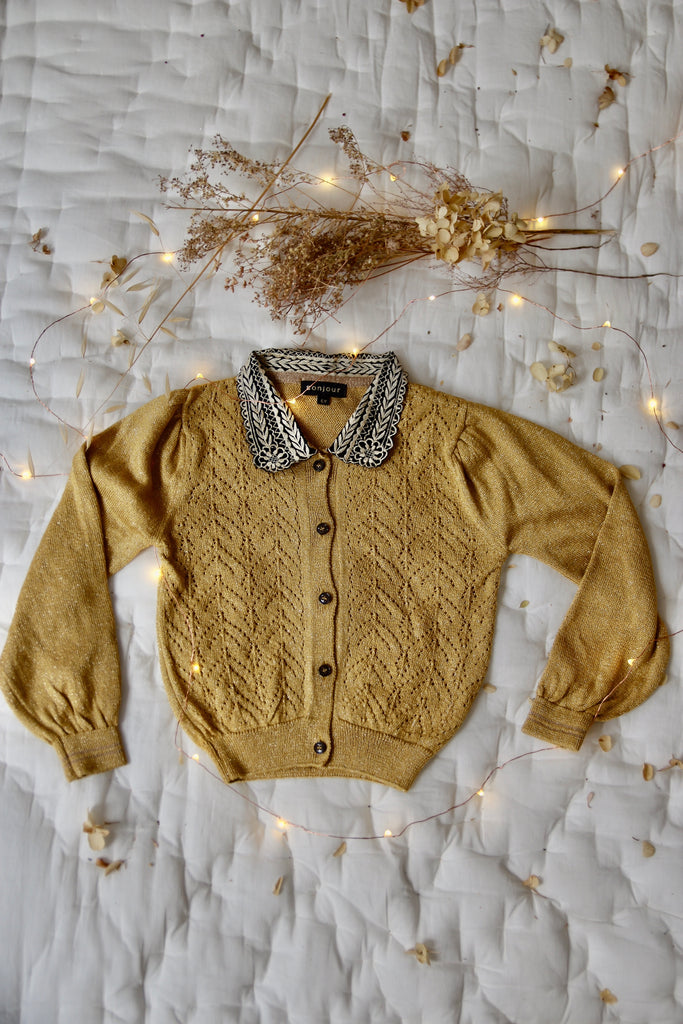 knitted child cardigan with lurex yarn - yellow curry