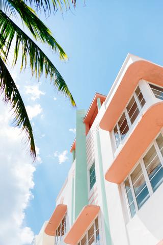 Pastel Color House in Miami Beach with Palmtrees