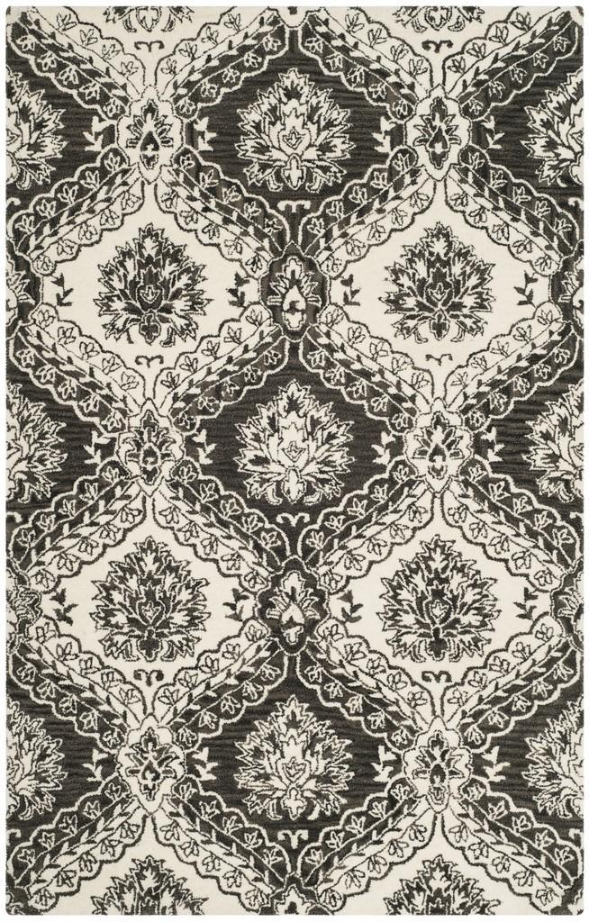 Safavieh Rugs Blossom BLM601H Charcoal | Ivory