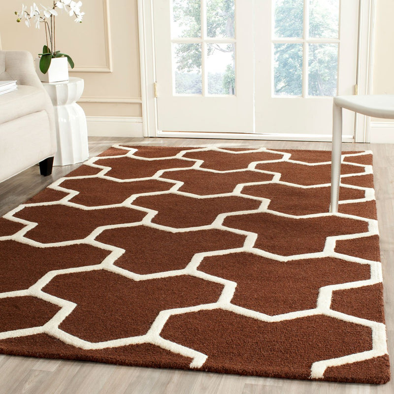 Safavieh Rugs Cambridge CAM146H Dark Brown | Ivory