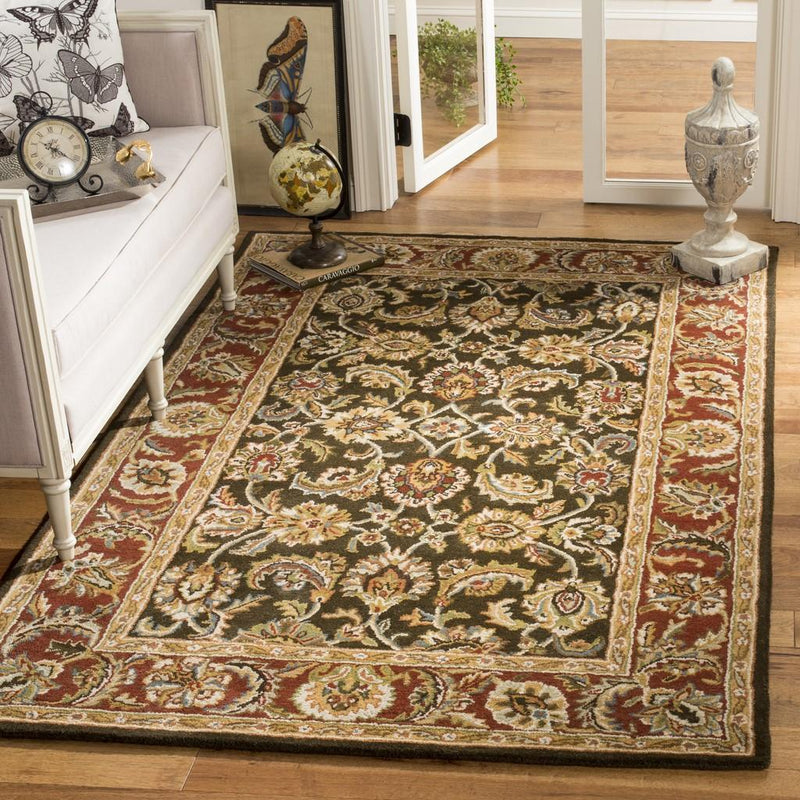 Safavieh Rugs Classic CL758P Dark Olive | Red