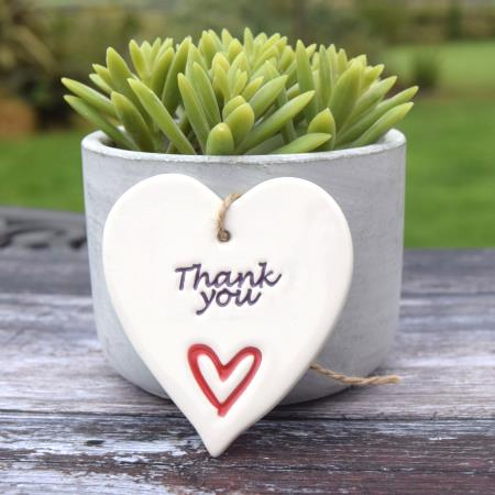 HANDMADE 'THANK YOU' POTTERY HEART