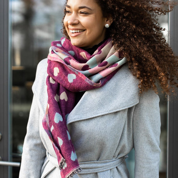 HEART DESIGN AUTUMN WEIGHT REVERSIBLE SCARF - COLOURS AVAILABLE