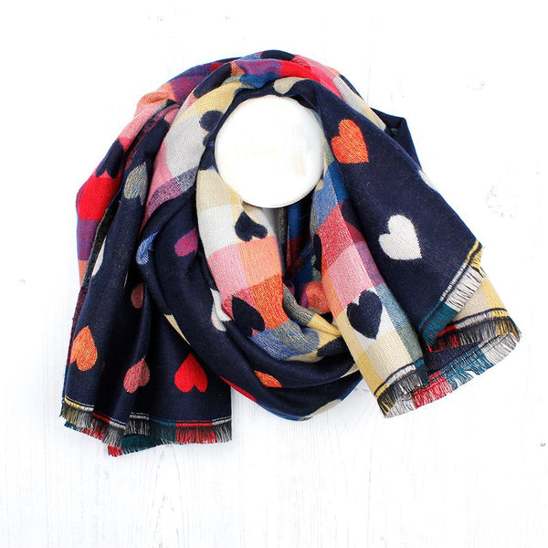 TWO SIDED HEART SCARF NAVY