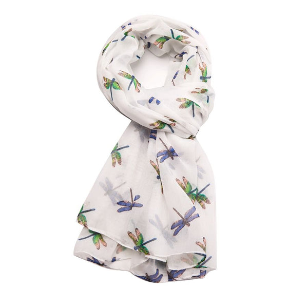 GIFT BOXED DRAGONFLY PRINT SCARF - COLOURS AVAILABLE