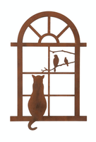 CAT IN WINDOW WALL PLAQUE