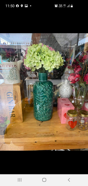 Green narrowneck vase