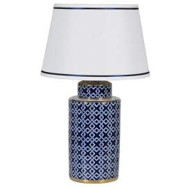 BLUE CERAMIC LAMP with GOLD TRIM