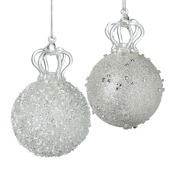 PAIR OF DECORATIVE GLASS BAUBLES