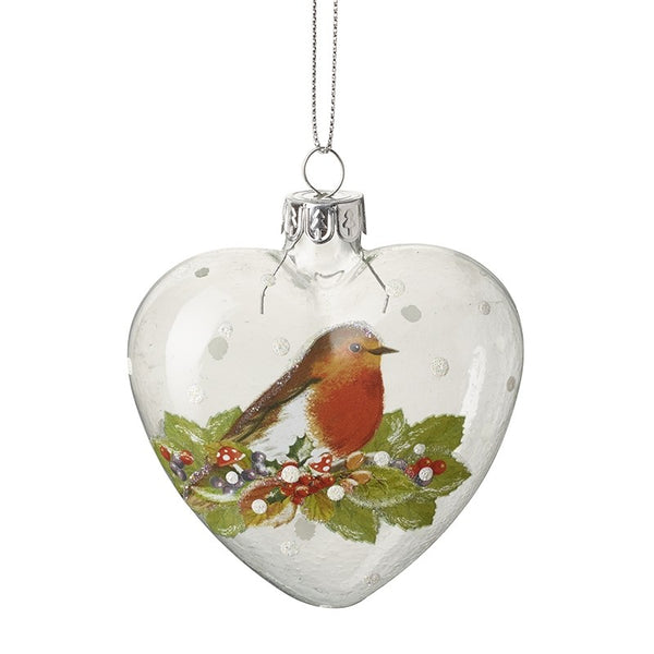 PAINTED ROBIN ON GLASS HEART BAUBLE