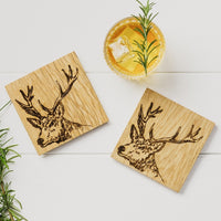 SET OF 2 SCOTTISH OAK COASTERS - DESIGN OPTIONS AVAILABLE