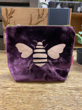 SMALL BEE VELVET COSMETIC BAG - COLOUR OPTIONS AVAILABLE