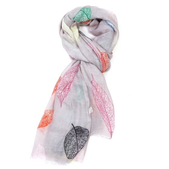 GIFT BOXED GREY MULTI COLOURED LEAF SCARF