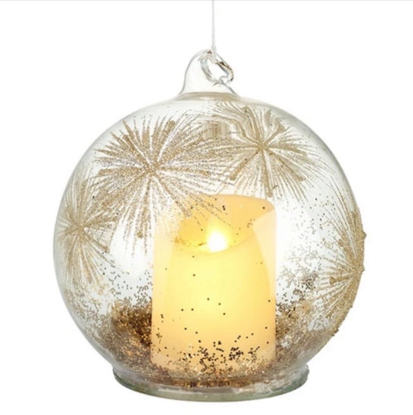 GLASS BAUBLE WITH LIGHT UP CANDLE.