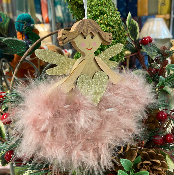 FLUFFY CHRISTMAS ANGEL HANGING DECORATION