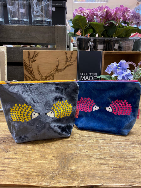 HEDGEHOG EMBROIDERED COSMETIC PURSE - COLOUR OPTIONS AVAILABLE