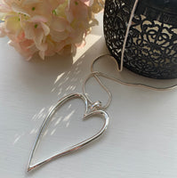 LARGE SILVER HEART PENDANT NECKLACE