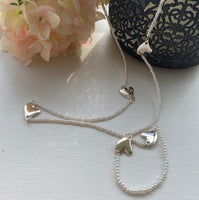 PEARL SILVER HEARTS NECKLACE