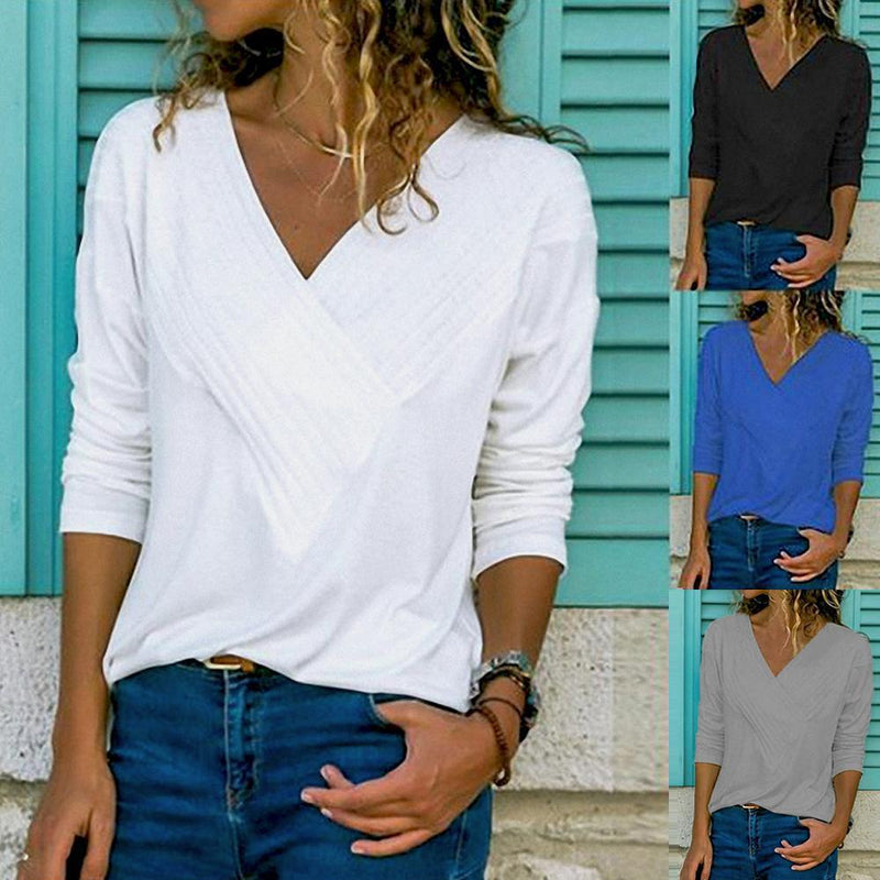 Classic V-Neck Basic Tops T-shirt