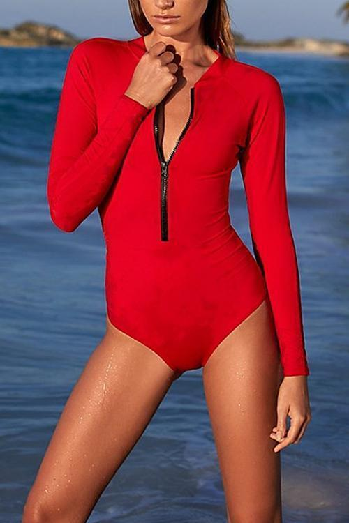 New V-Neck Zips Plain One Piece.AR