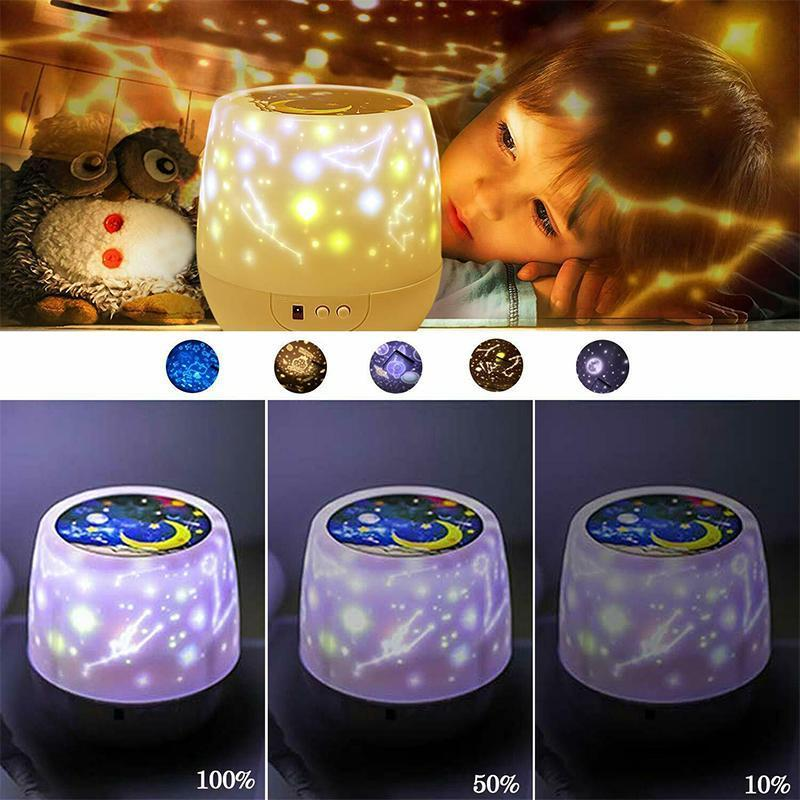 Multifunctional LED Night Light Star Projector Lamp, 5 Sets of Film