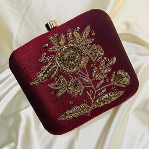 Hibiscus - Embroidery Clutch
