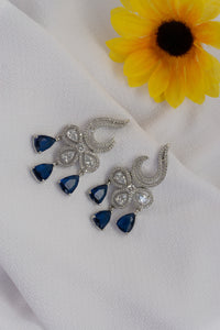 AD Earring With Rhodium Plating - Blue & Pink