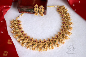 Traditional Maanga Neckpiece Set With Clustered Pearls