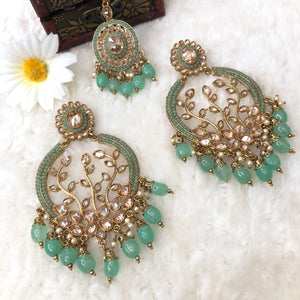 Polki Earrings With Tikka