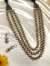 Load image into Gallery viewer, Dual Tone Long Beaded Neckpiece With Earrings
