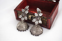 Load image into Gallery viewer, Crystal Leaf Jhumkas