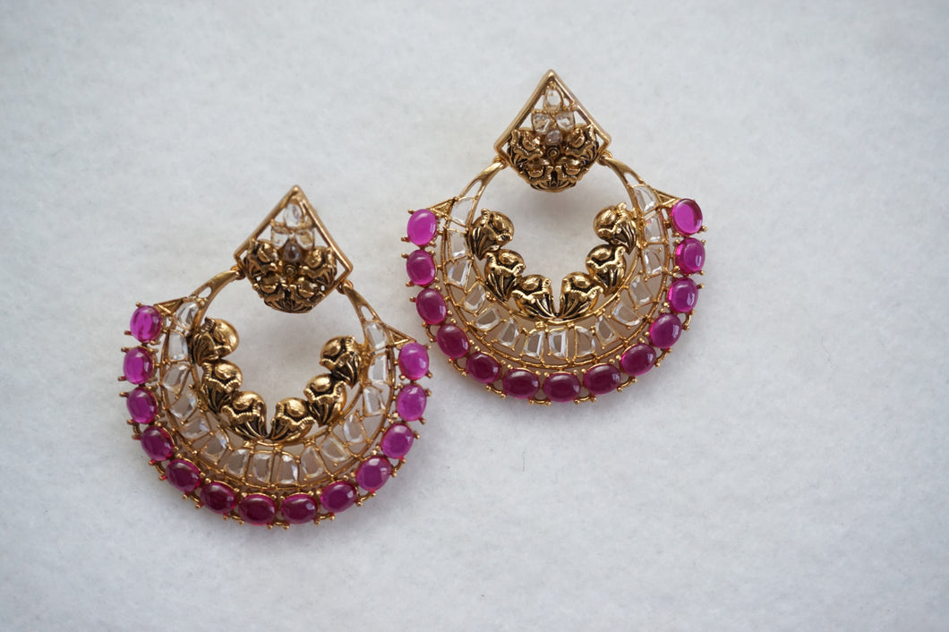 Earring With Gold Plating - Blue & Ruby