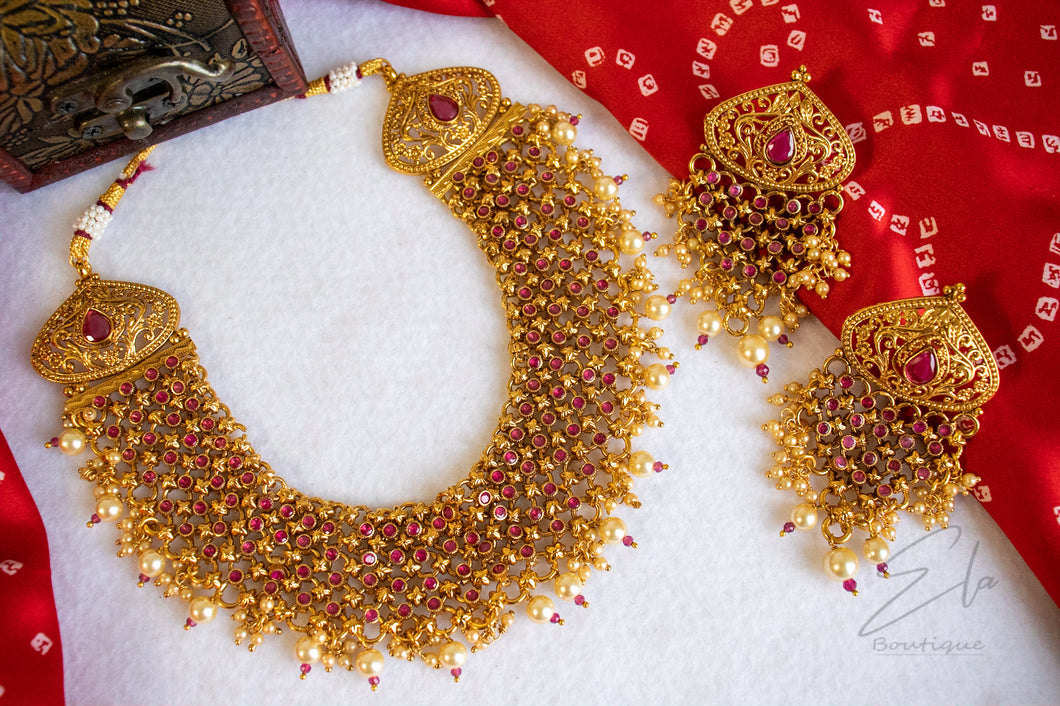 Polki Short Necklace Set Gold Plated