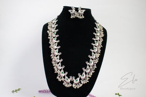 Peacock Long Kemp Necklace Set With Black Rhodium Plating