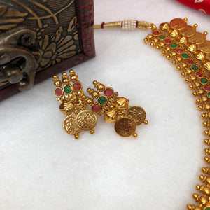 Traditional Kasu Malai Necklace With Earrings