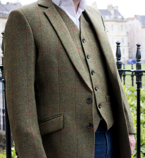 British tweed waistcoat - tweed jacket - green
