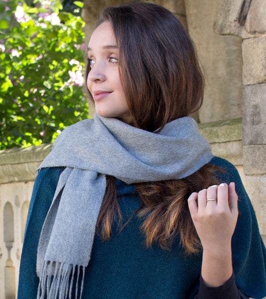 SCOTTISH CASHMERE SCARF - SILVER GREY - 2