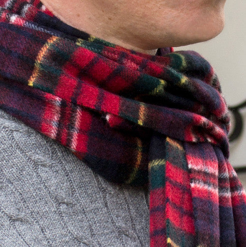 cashmere scarf - red navy check - PIC MEN