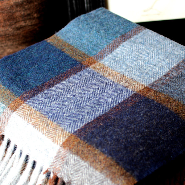 DARK BLUE BLOCK CHECK - ENGLISH SCARF