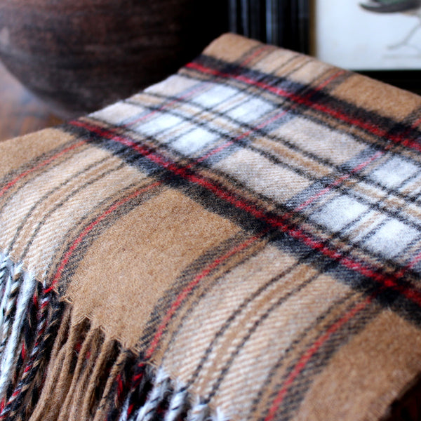 DARK CAMEL TARTAN  - ENGLISH SCARF