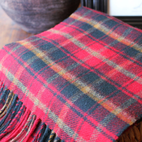 CLARET TARTAN - ENGLISH SCARF
