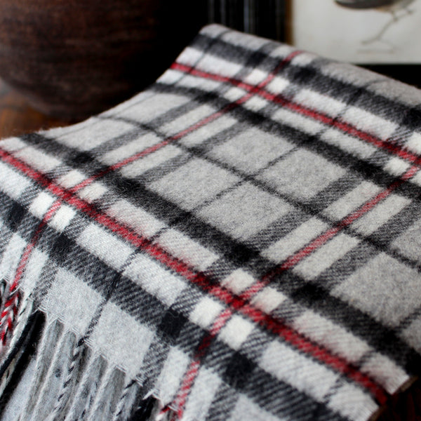 merino wool GREY TARTAN  - ENGLISH SCARF