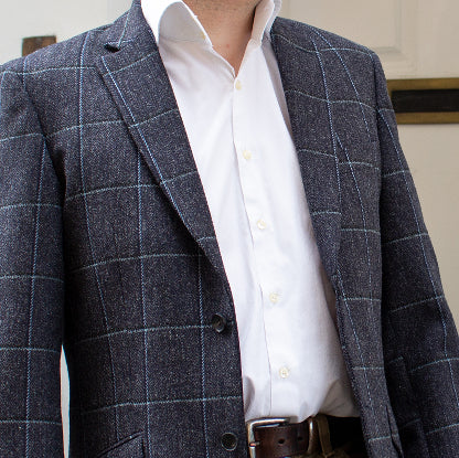 MENS BRITISH HOUSE TWEED JACKET - NAVY-CHARCOAL