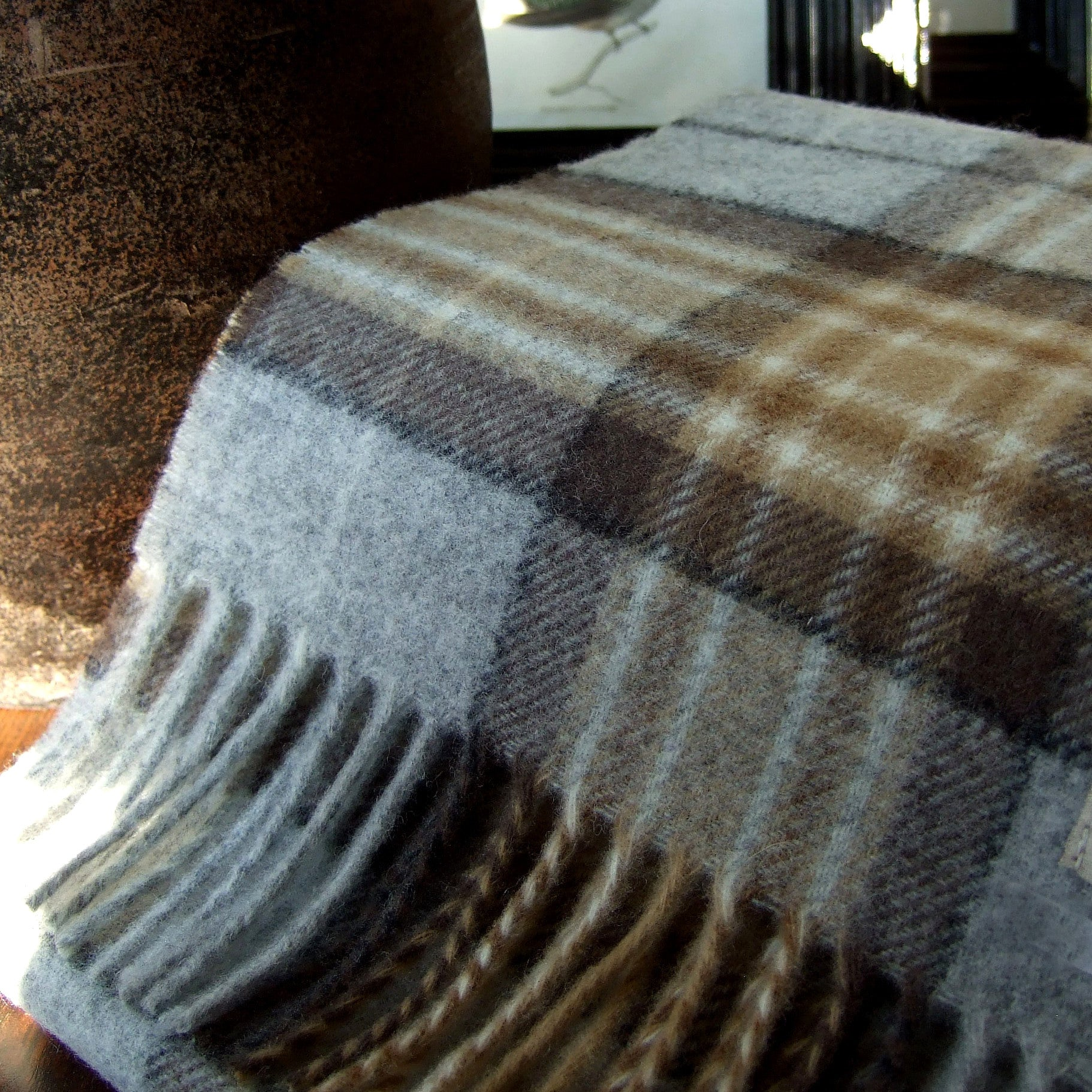 PALE CAMEL TARTAN - ENGLISH SCARF