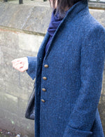 HARRIS TWEED LADIES LANSDOWN COAT - DEEP BLUE