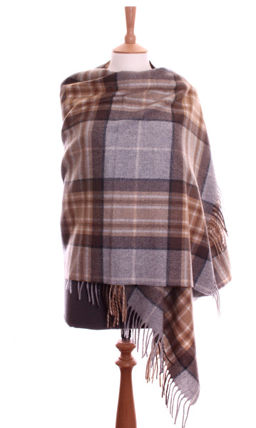 ENGLISH SHAWL - PALE CREAM TARTAN - 3