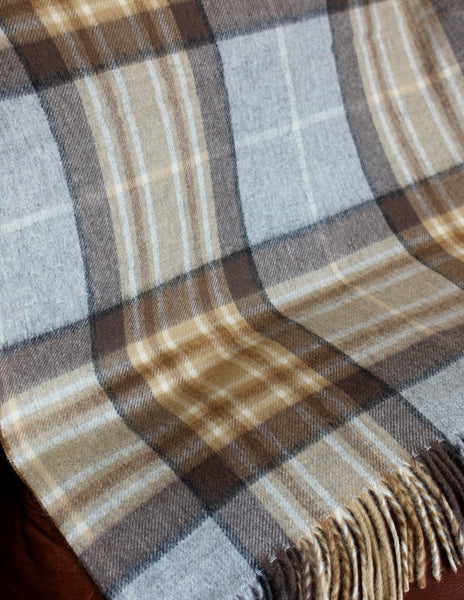 ENGLISH SHAWL - PALE CREAM TARTAN - 2
